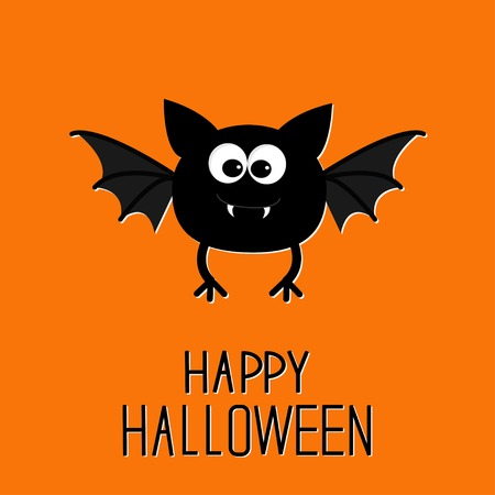 Cute cartoon bat. Happy Halloween card. Flat design. Vector illustration