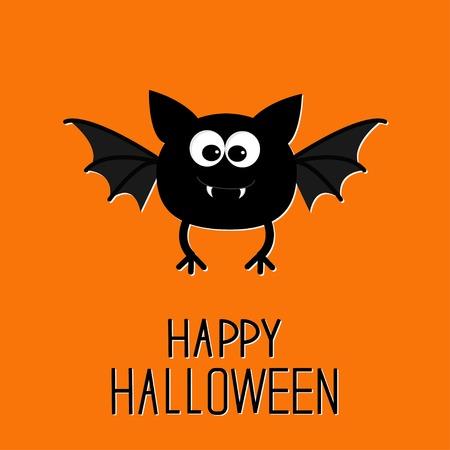 Cute cartoon bat. Happy Halloween card. Flat design. Vector illustration