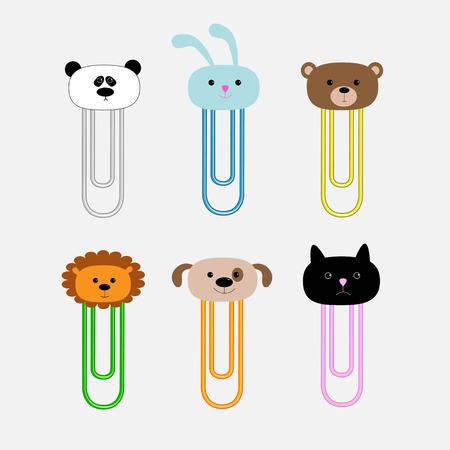 rabit: Paperclips with animal head set. Panda, rabit, dog, cat, lion, bear. Flat design. Vector illustration