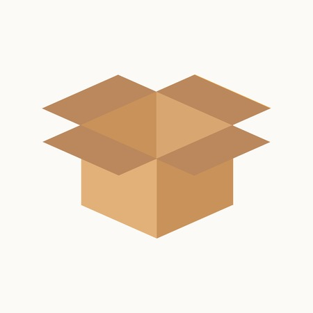 Opened cardboard package box. Flat design style. Vector illustration Illustration