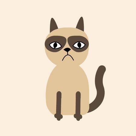 Cute sad grumpy siamese cat in flat design style. Vector illustration Vector