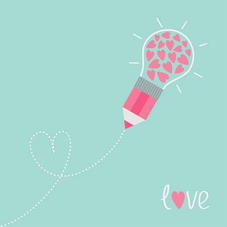 Pencil with light bulb and hearts. Dash line heart. Flat design love card. Vector illustration Vector
