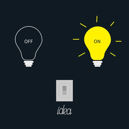 On and off light bulbs with tumbler switch. Idea concept. Flat design.Vector illustration Vector