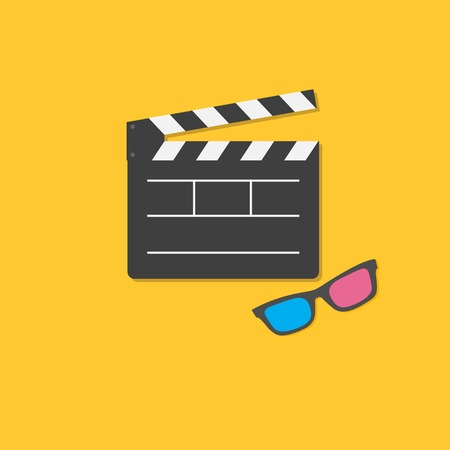 Open movie clapper board and 3D glasses template icon. Flat design style. Vector illustration Vector