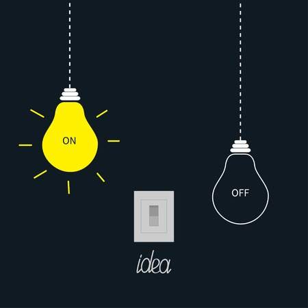 Hanging on and off light bulbs with tumbler switch. Idea concept. Flat design.Vector illustration