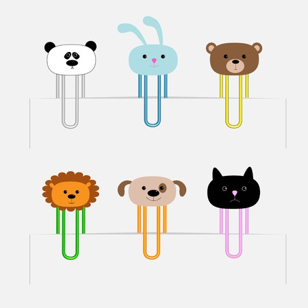 Paperclips set with animal heads. Panda, rabit, dog, cat, lion, bear illustration Vector