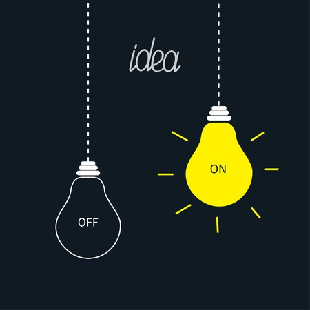 yellow lamp: On and off bulbs in the dark