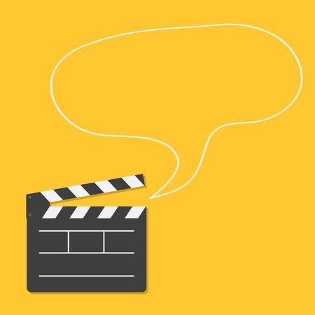 video camera icon: Open movie clapper board with speech bubble Template icon