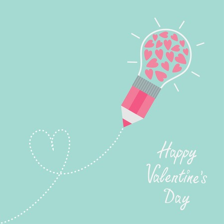 Pencil with light bulb and hearts inside, Dash line heart Vector