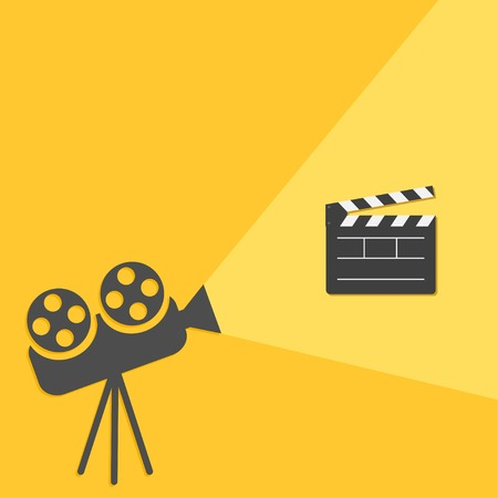 film projector: Cinema projector with light Open movie clapper board template icon