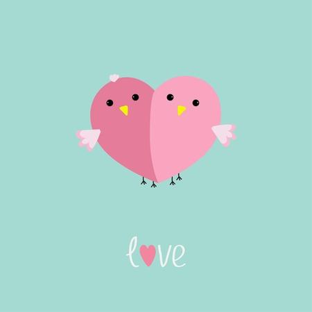 Two pink birds in shape of half heart Love cart Flat design style Vector illustration Vector