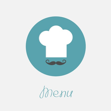 Big chef hat and mustache in the circle Menu icon Flat design style. Vector illustration Vector