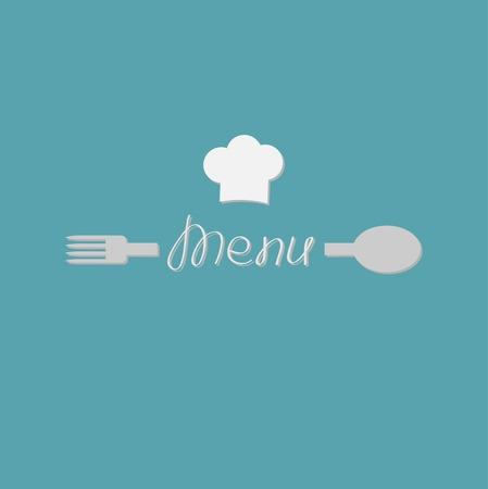Vork, lepel woord menu en chef hoed kaart. Platte design stijl. Vector illustratie