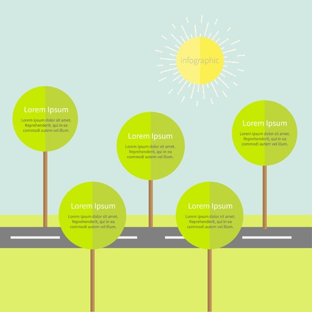 Infographic with road tree and sun. Flat design Vector illustration Vector