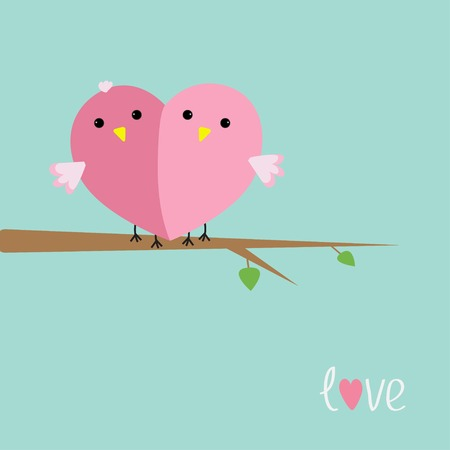 Two pink birds in shape of heart Love cart Flat design style Vector illustration Vector