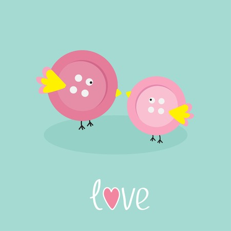 Two pink button birds Love cart Flat design style Vector illustration Vector