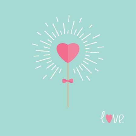 shining light: Coraz�n en el palo con el arco brillante luz efecto palabra amor. Dise�o de ilustraci�n vectorial Flat.