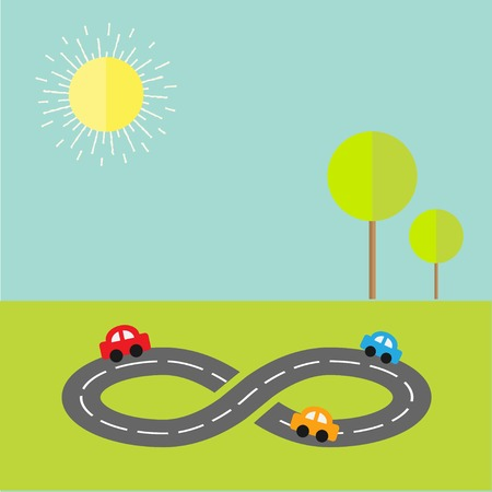 Background with road infinity sign three cartoon cars, tree and sun. Flat design Vector illustration Vector