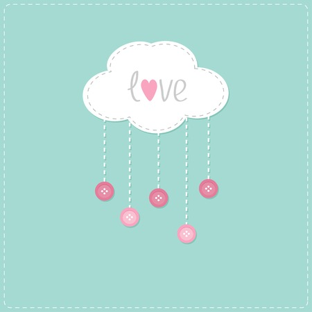 love in rain: Cloud with hanging rain button drops and word Love. Card. Vector illustration.