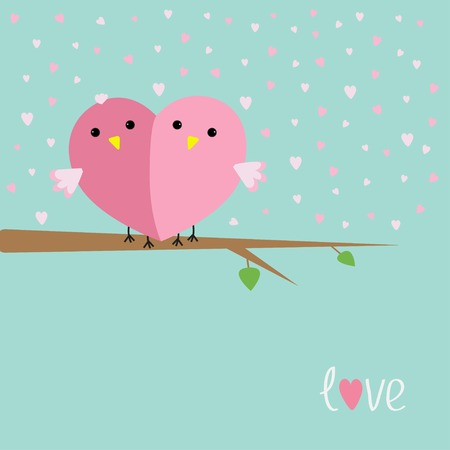 funny love: Two birds in shape of half heart sitting on the tree Love cart Flat design style  Illustration