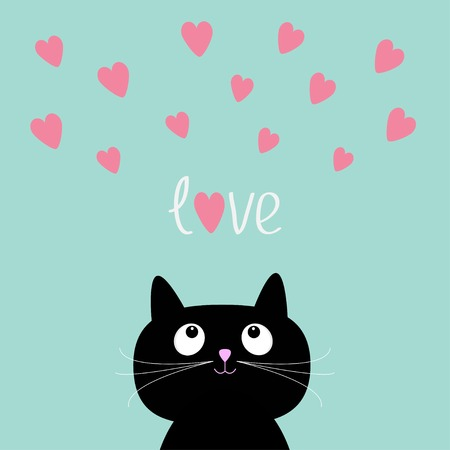 Pink hearts and cute cartoon cat.