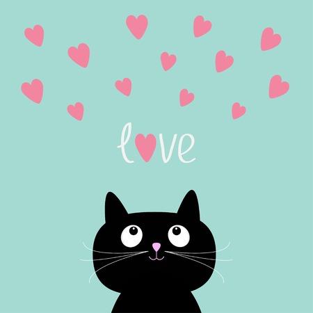 shiny black: Pink hearts and cute cartoon cat.