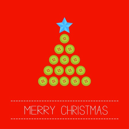 red and yellow card: Christmas triangle tree from green buttons.  Illustration