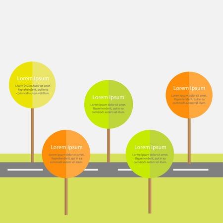 orange tree: Infographic with road, green and orange tree, sun. Illustration