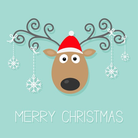 Cute cartoon deer with curly horns, red hat and hanging snowflakes.