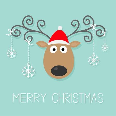 Simpatico cartone animato cervi con le corna riccio, cappello rosso e appesi fiocchi di neve. Archivio Fotografico - 33345965