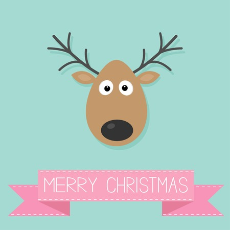 Cute Cartoon Deer With Horn Merry Christmas Background Vector