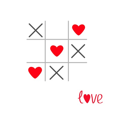 romance strategies: Tic tac toe game with cross and heart sign mark Love card Isolated Flat design Vector illustration Illustration