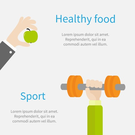 Hand holding dumbell Sport Fitness healthy lifestyle concept template Flat design Vector illustration Vector