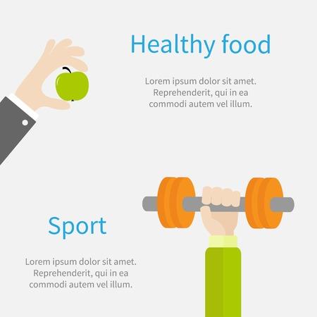 dumbell: Mano che tiene dumbell Sport Fitness stile di vita sano concetto di modello di progettazione piatto Vector illustration