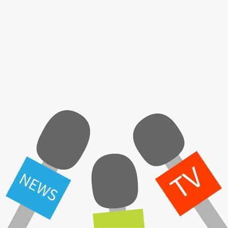 spokesperson: Microphone TV news set Reparter journalism concept Flat design style Vector illustration