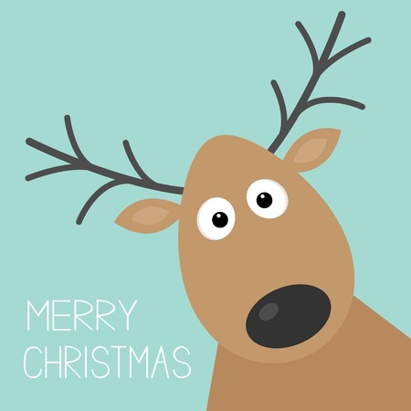 red deer: Cute cartoon deer face with horn Merry christmas background card Flat design Vector illustration