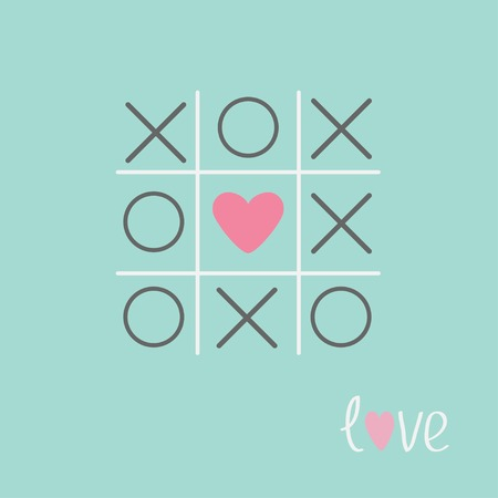 xoxo: Tic tac toe game with cross and heart sign mark Love card Blue Flat design Vector illustration Illustration