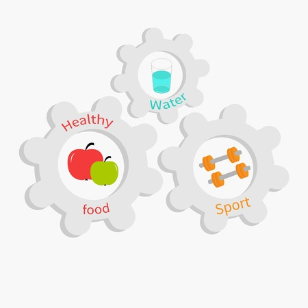 Cogwheel gear set with water, apple, dumbell. Healthy lifestyle concept Flat design Vector illustration Vector