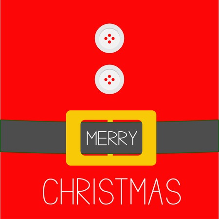 Santa Claus Coat with fur, buttons and golden belt. Merry Christmas background card Flat design Vector illustration