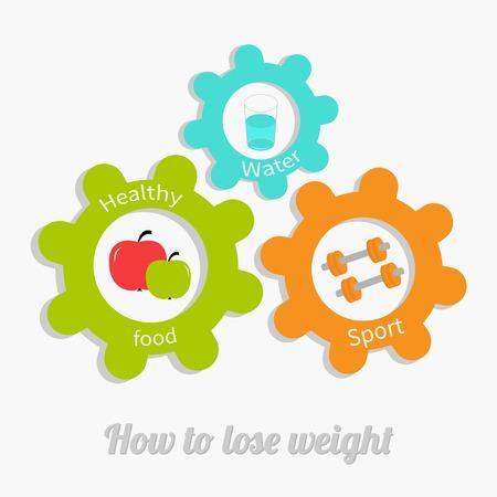 dumbell: Ingranaggio ruota dentata colorati con acqua, mela, dumbell. Concetto di stile di vita sano. Come perdere peso Design piatto Vector illustration Vettoriali
