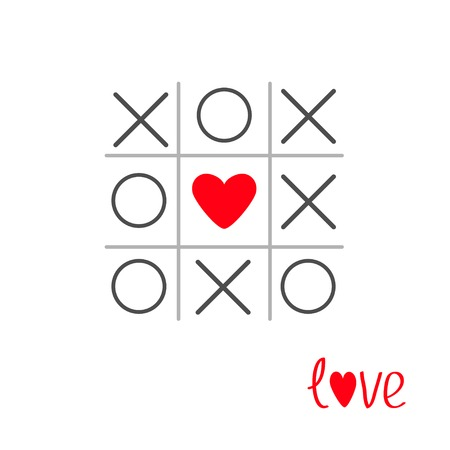 xoxo: Tic tac toe game with cross and heart sign mark in the center  Love card Flat design Vector illustration Illustration