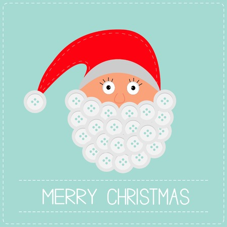 Santa Claus face with button beard. Merry Christmas card  Vector
