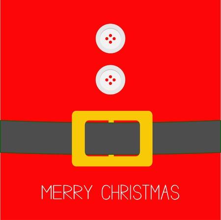 Jas met bont, knopen en riem van de Kerstman. Merry Christmas achtergrond kaart Flat design Vector illustratie