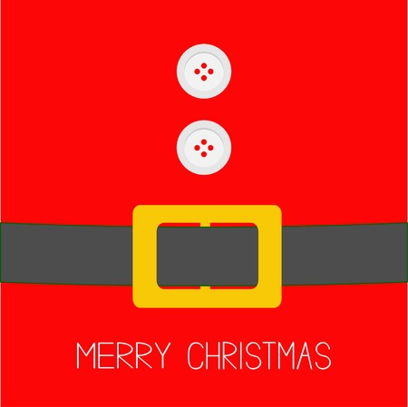 belly button: Santa Claus Coat with fur, buttons and belt. Merry Christmas background card Flat design Vector illustration