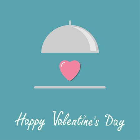 love: Silver platter cloche and pink heart. Flat design style. Happy Valentines day card Vector illustration Illustration