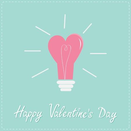 unusual valentine: Light bulb in shape of heart. Flat design style. Happy Valentines day card Vector illustration Illustration