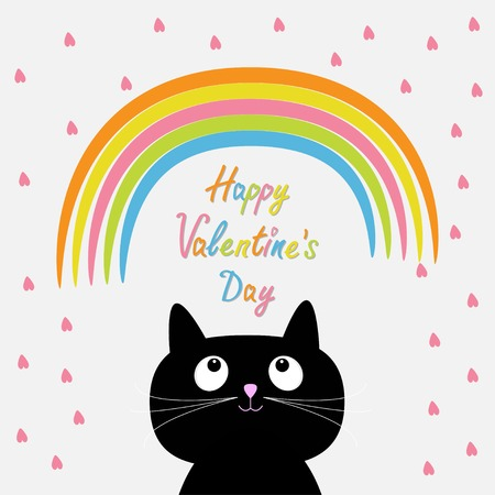 Rainbow and pink heart rain with cute cartoon cat. Flat design style. Happy Valentines day card Vector illustration Vector