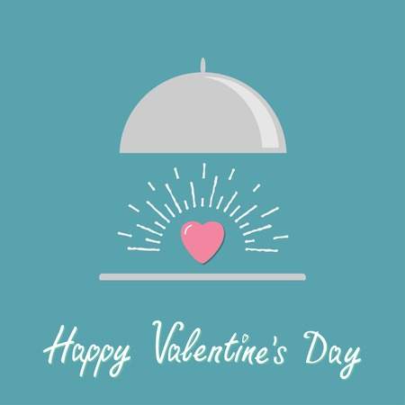 dinner date: Silver platter cloche and pink shining heart. Flat design style. Happy Valentines day card Vector illustration