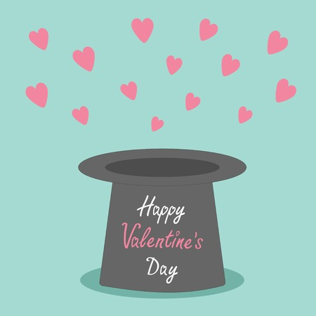 conjure: Magic black hat with flying pink hearts on blue background.. Flat design style Happy Valentines day card Vector illustration