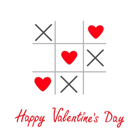 romance strategies: Tic tac toe game with cross and three heart sign mark Happy Valentines day card Red Flat design Vector illustration Illustration